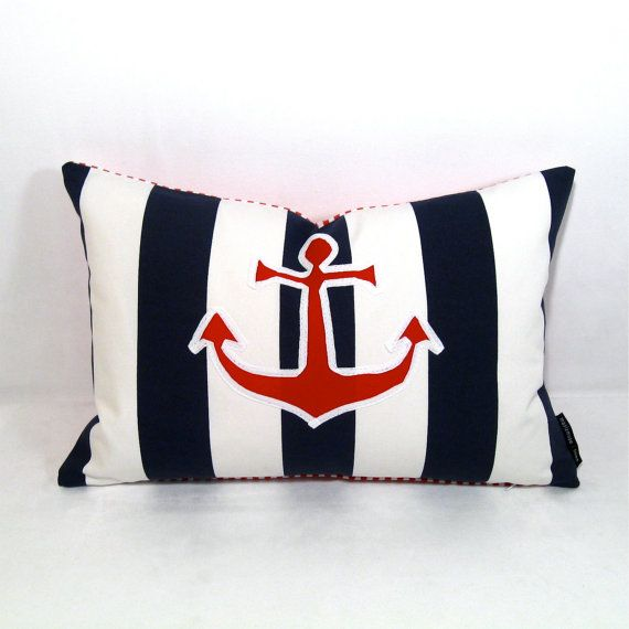 Nice Nautical Pillow Cover Anchor Red White Blue By Mazizmuse On Etsy Nice Look