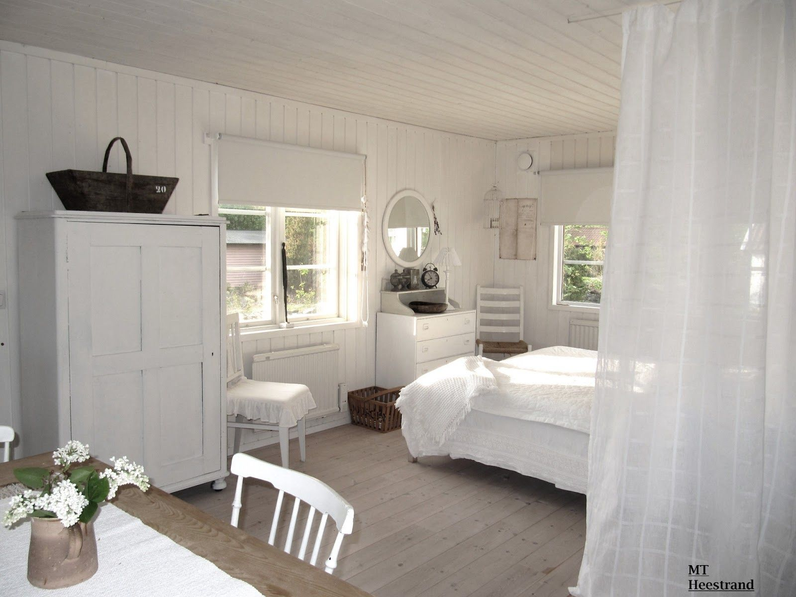 Bedroom White Grey Black Chippy Shabby Chic Whitewashed Cottage French Country Rustic