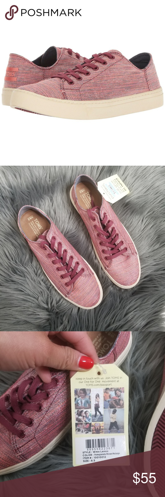 7e56c0747 NWT Tom s Women s Lenox Sneaker New with tags. No box Color  pomegranate  woven melange