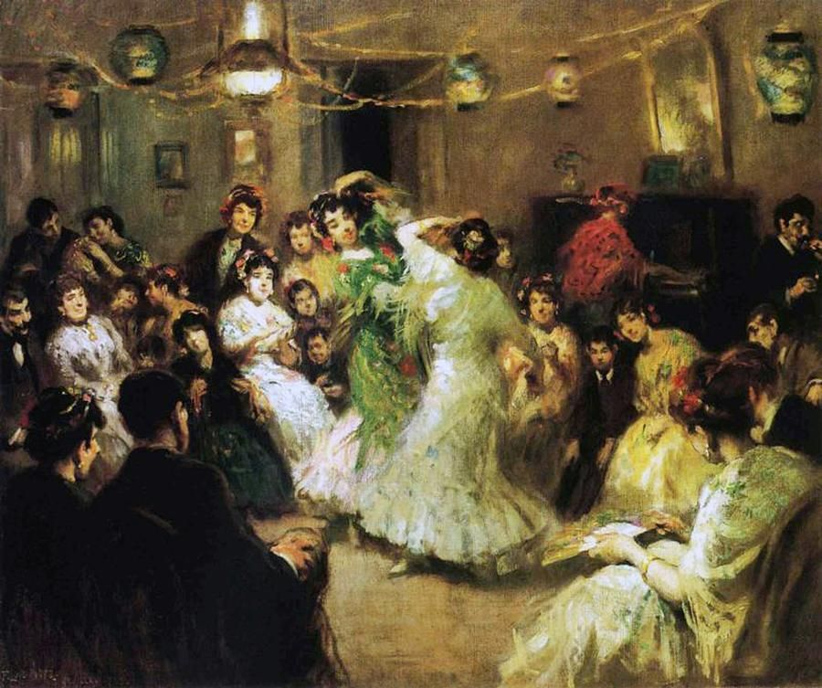 A Flamenco Party At Home Painting with several women with fans