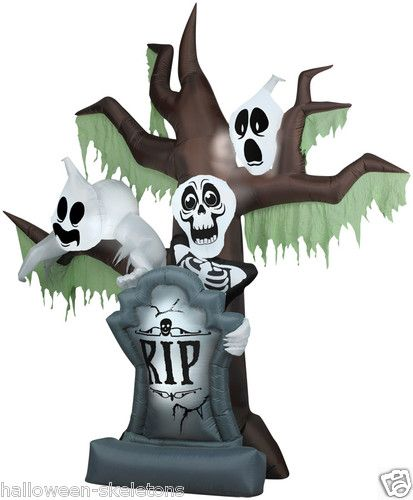 Animated Airblown Grave Scene with Ghost  Skelly stands 75 feet - animated halloween decorations
