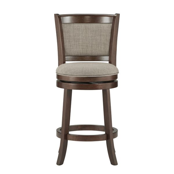 Verona Panel Back Linen Swivel 24 Inch High Back Counter Height Stool By Inspire Q Classic Bar Stools Counter Height Stools High Back Bar Stools