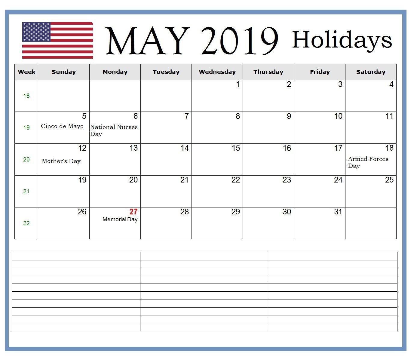 US May 2019 Bank Holidays Calendar Holiday calendar