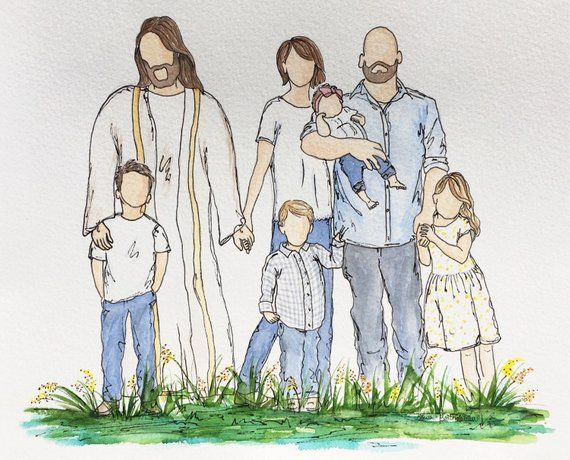 Watercolor Family Portrait With Jesus Custom Watercolor With