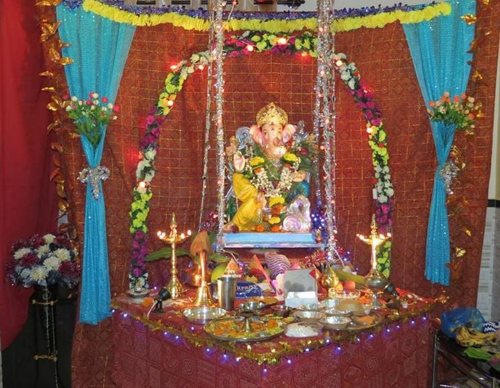 Decoration ideas for ganesh chaturthi ganesh decoration for Background decoration for ganpati