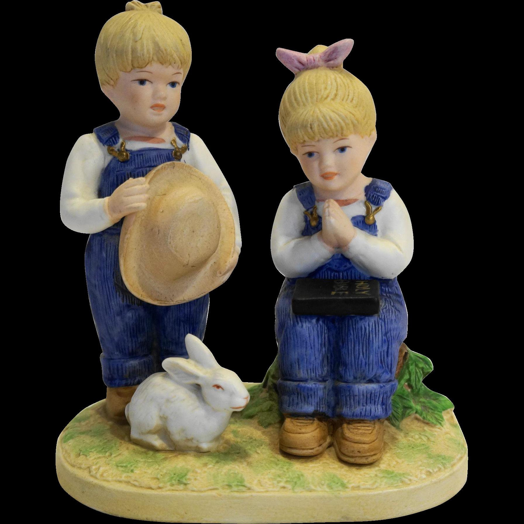 Home interior masterpiece figurines denim days jesus loves us  figurine homco made in taiwan