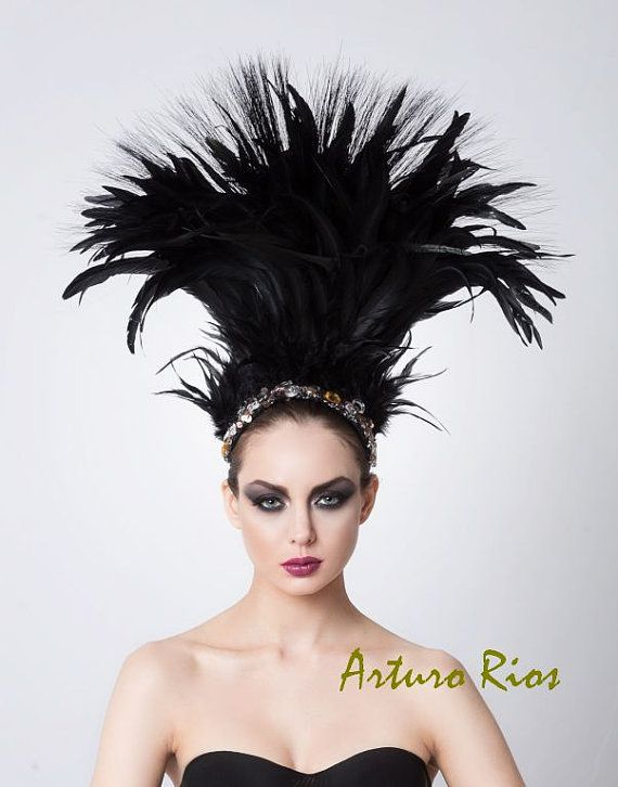 a8eea8efbc4 Couture Feathered Headpiece Beaded Hat Fascinator by ArturoRios ...