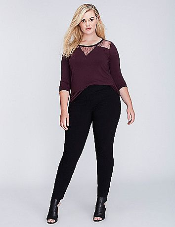 This top's sheer point d'esprit is a classic way to get in on this season's polka dot trend. Fitted. Scoop neck. lanebryant.com