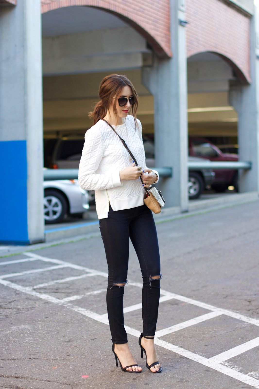 Minimalistic Outfit White Sweater Black Ripped Jeans