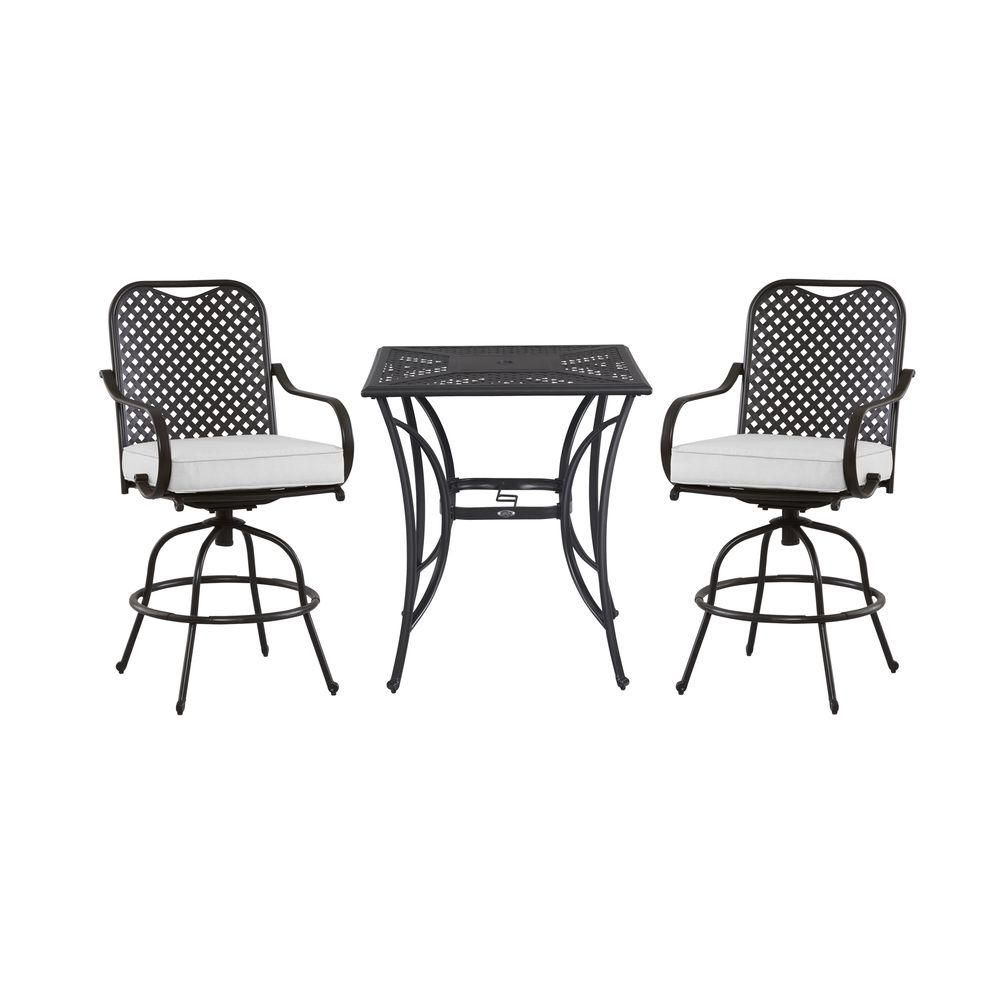 Hampton Bay Fall River 3 Piece Patio High Bistro Set With Bare Cushion Dy11034 Hd B At The Home Depot Outdoor Bar Height Table Bistro Set Hampton Bay