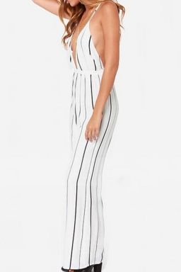 White Loose Sexy Ladies Low Cut Stripes Backless Jumpsuit