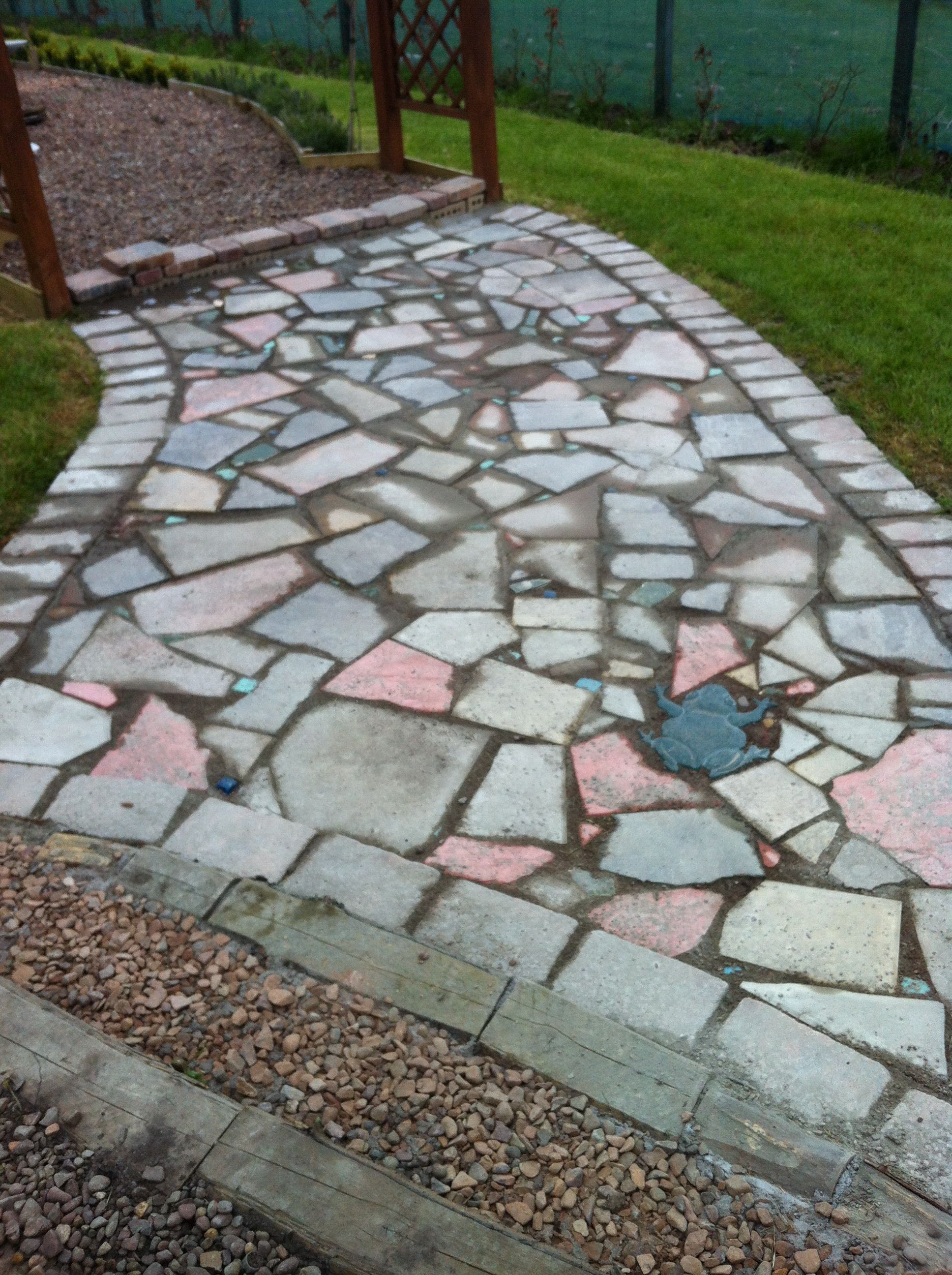 Managed To Finish Crazy Paving Unsigned Broken Slabs Small Broken Glass Bathroom Tiles Etc