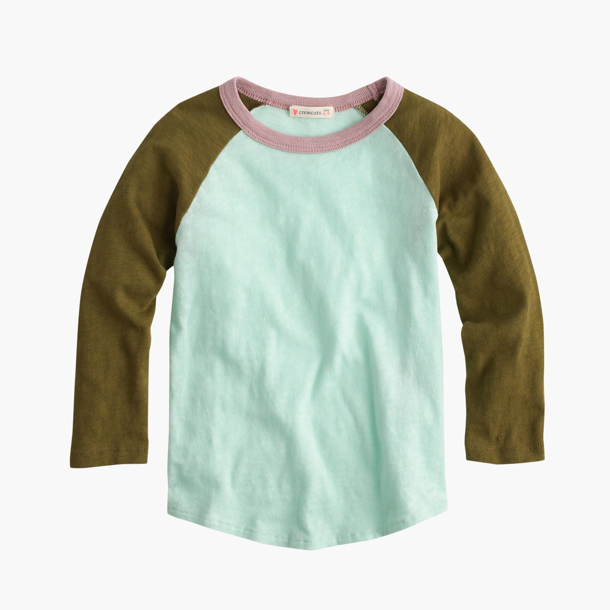 891c2925 Girls' three-quarter-sleeve colorblock baseball T-shirt : long-sleeve tees    J.Crew