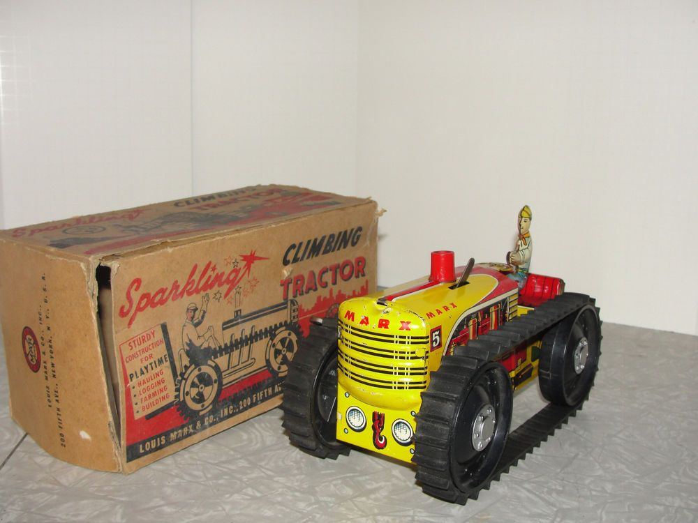 Vintage 1940's Marx Caterpillar Tractor in the Box #Marx