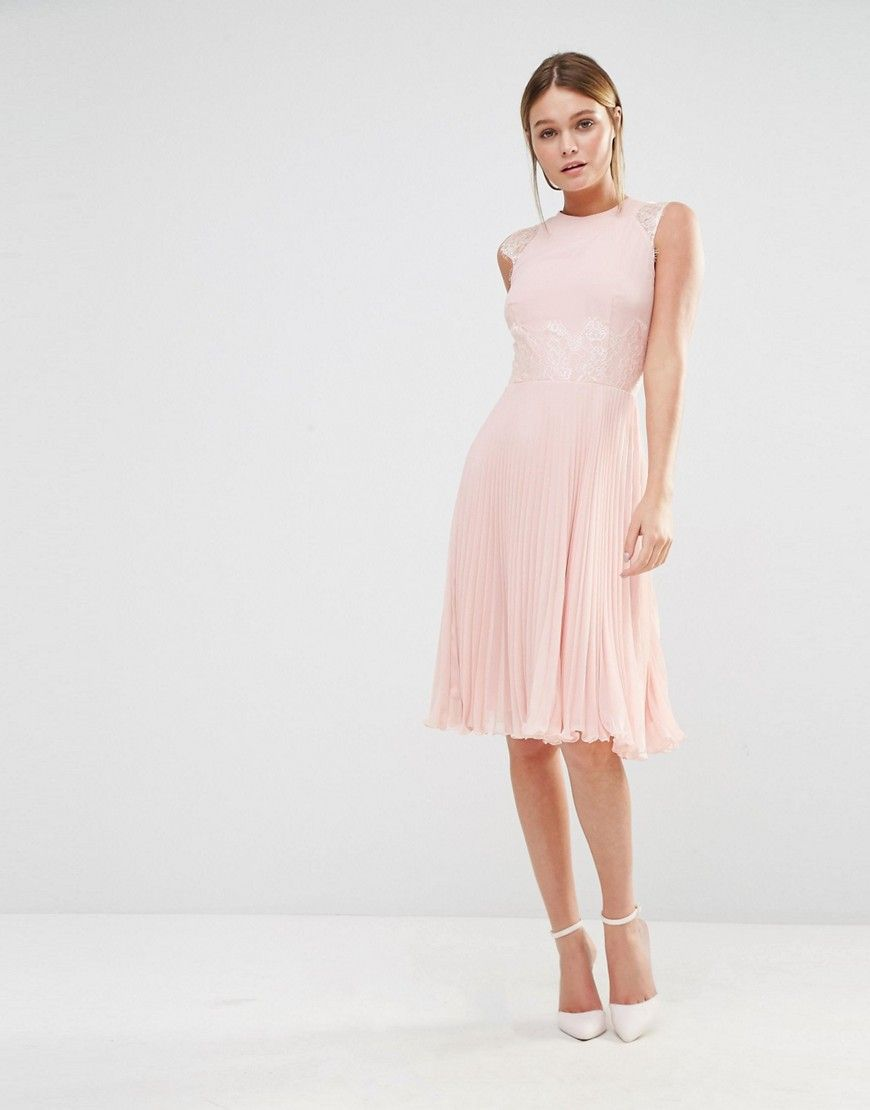 Image of elise ryan pleated midi dress with eyelash lace sleeves