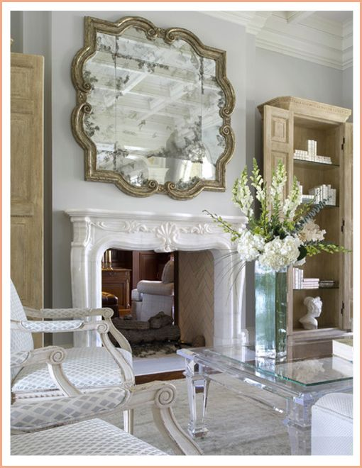 Yawn Design Large Mirror Over Mantel Simple Symmetry For