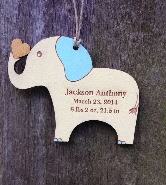 Personalized baby gift elephant baby keepsakebirth info personalized baby gift elephant baby keepsakebirth infopersonalized baby ornamentnew mom giftbaby giftbabys first christmasyellow negle Gallery
