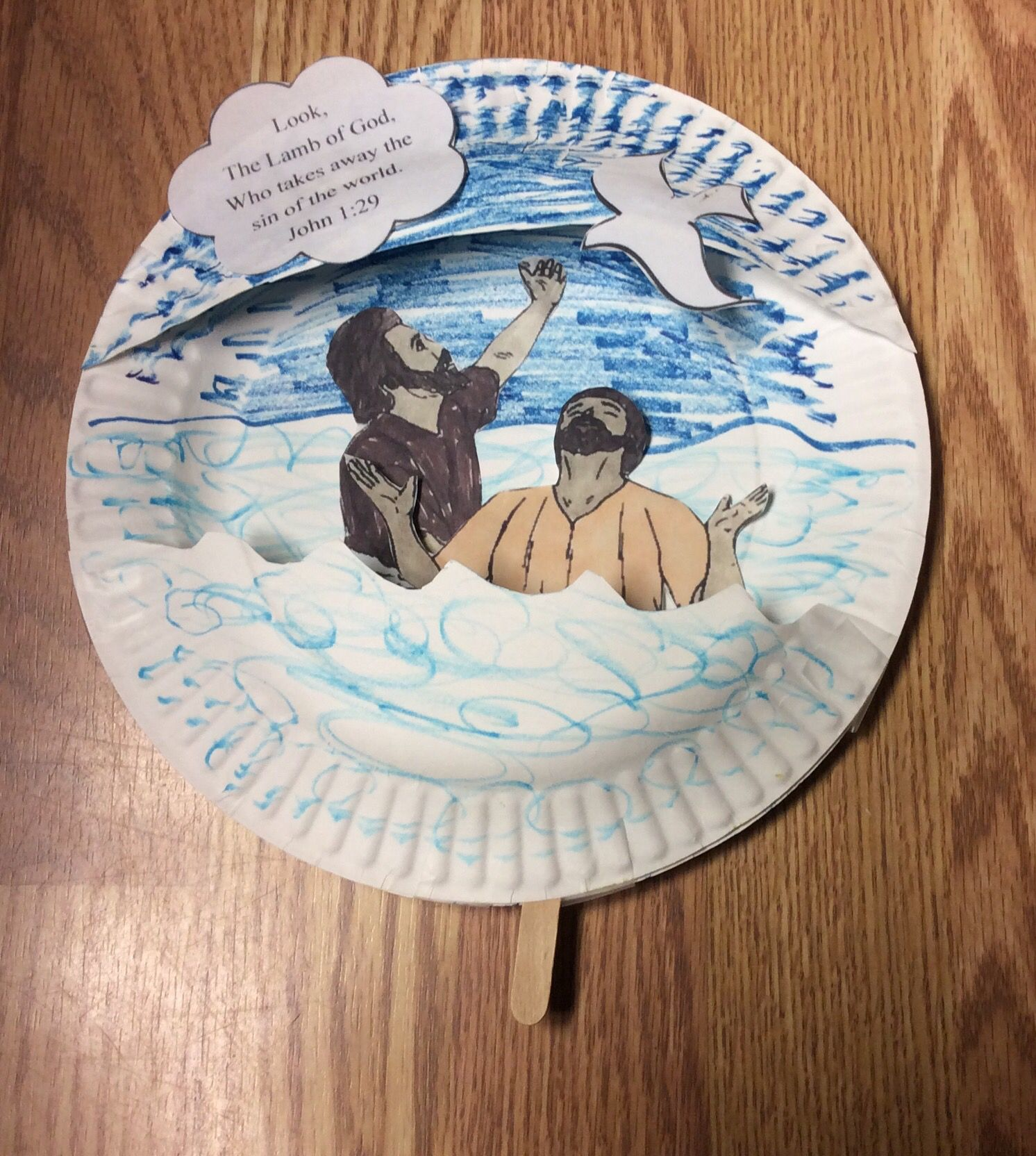 John Baptizing Jesus Craft For Children S Church Jesus Moves Up And Down With A Popsicle Stick