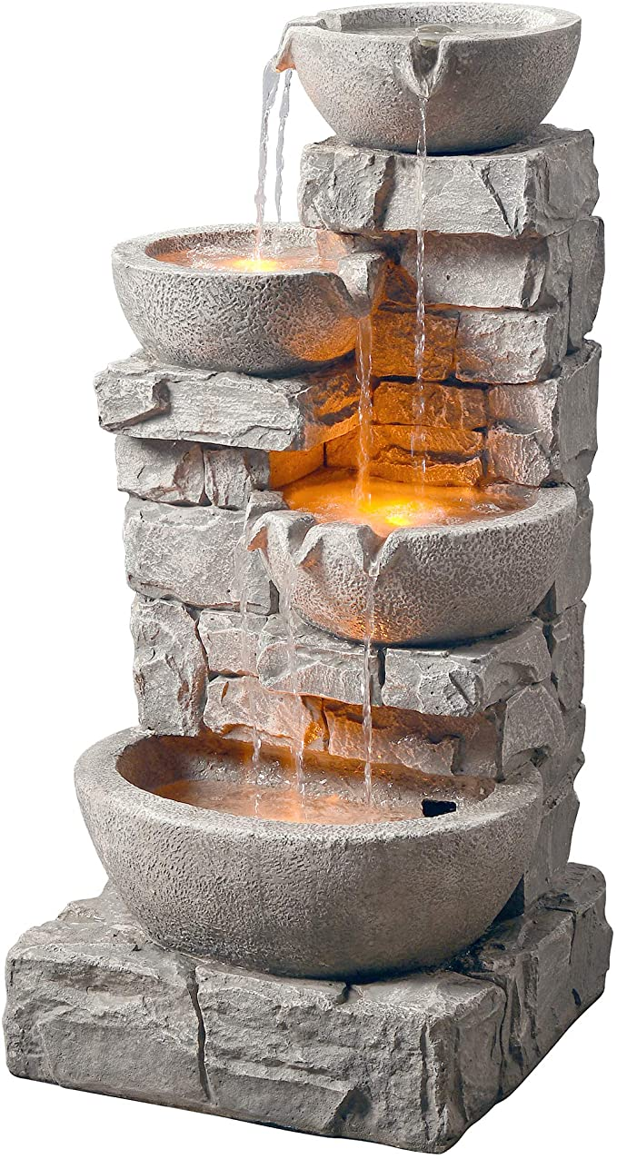 Amazon Com Peaktop 201601pt Floor Stacked Stone 4 Tiered Bowls Waterfall Water Fountain For Outdoor Fountains Outdoor Water Fountains Outdoor Water Fountain Outdoor water fountains with led lights