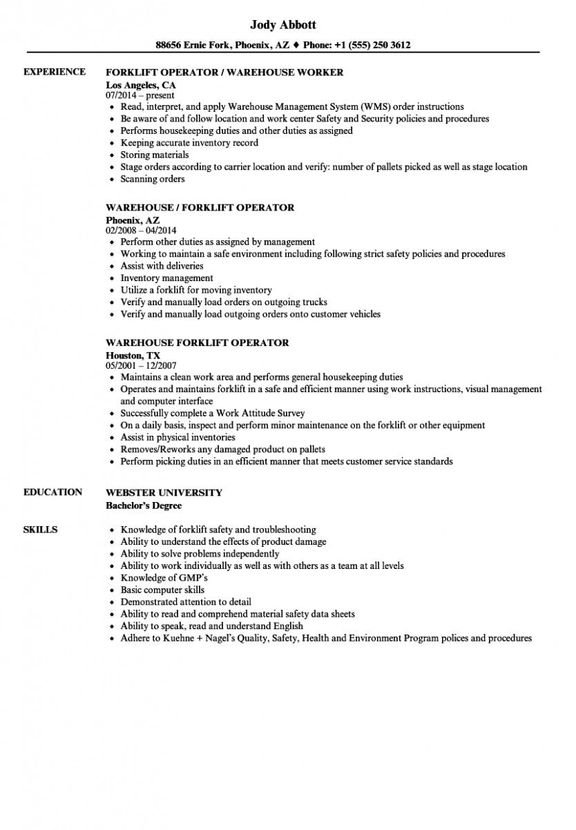 12 Pattern Resume For Forklift Operator