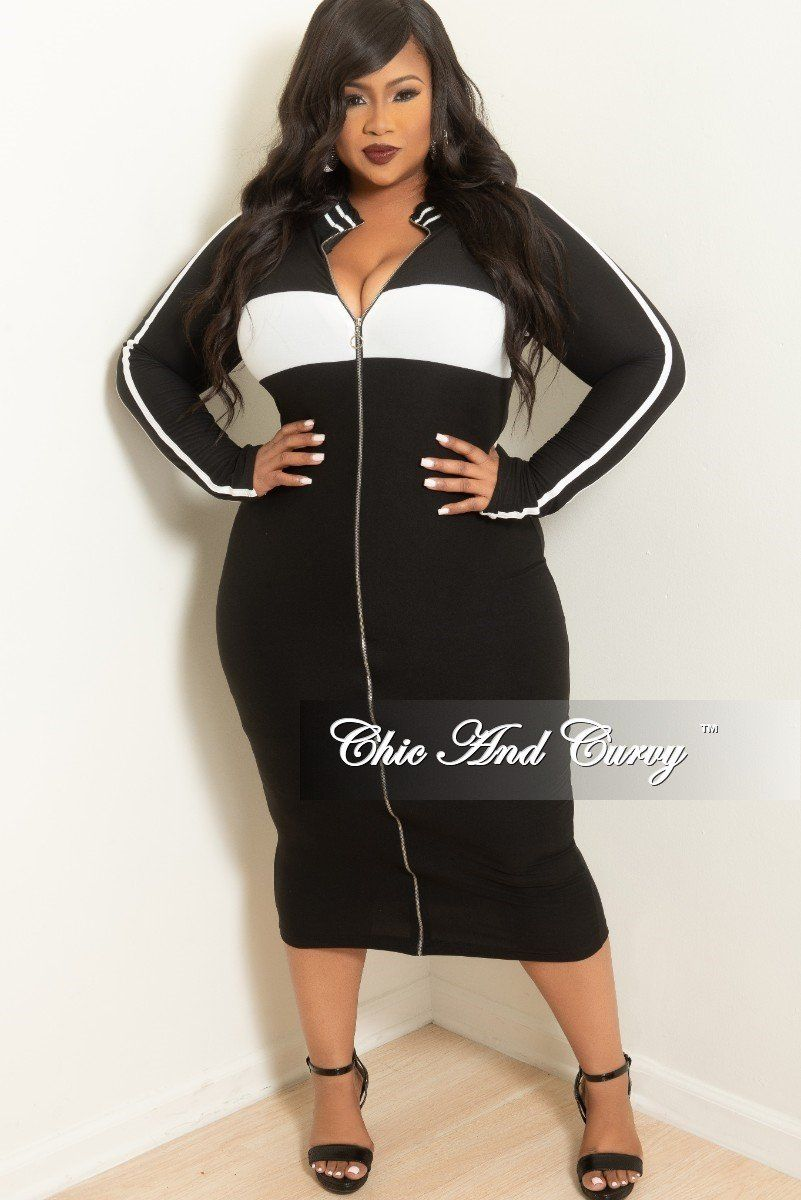 a6dc3e44645 Plus Size Long Sleeve BodyCon Dress in Black with White Trim – Chic And  Curvy