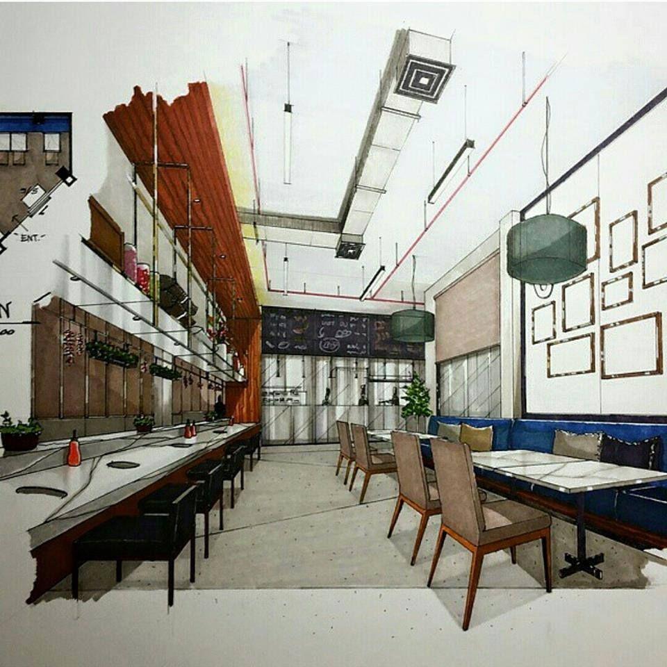 Innenausstattung Simulation Interior Skizze Innenarchitektur Skizzen Design Restauranteinrichtungen Cafe Restaurant Skizzierung Pho