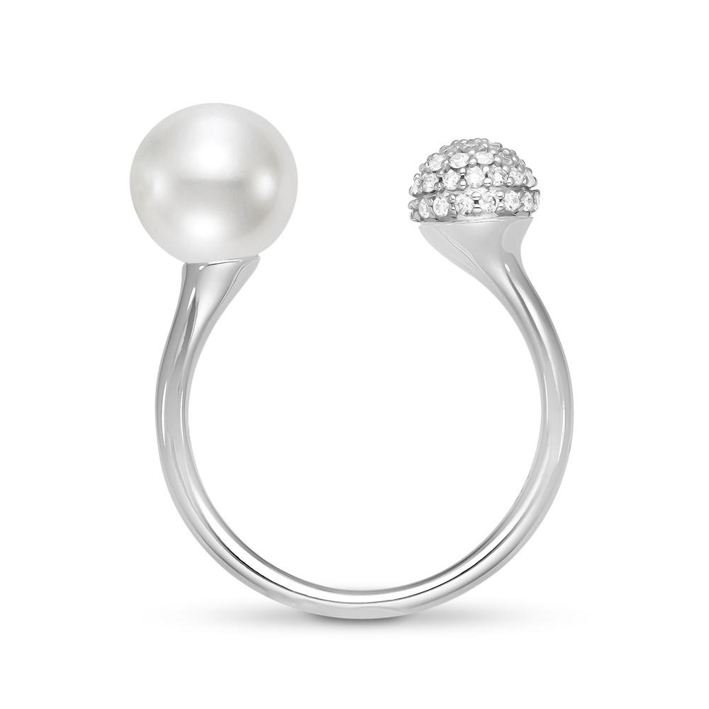 885mm cultured pearl 18k white gold ring white gold