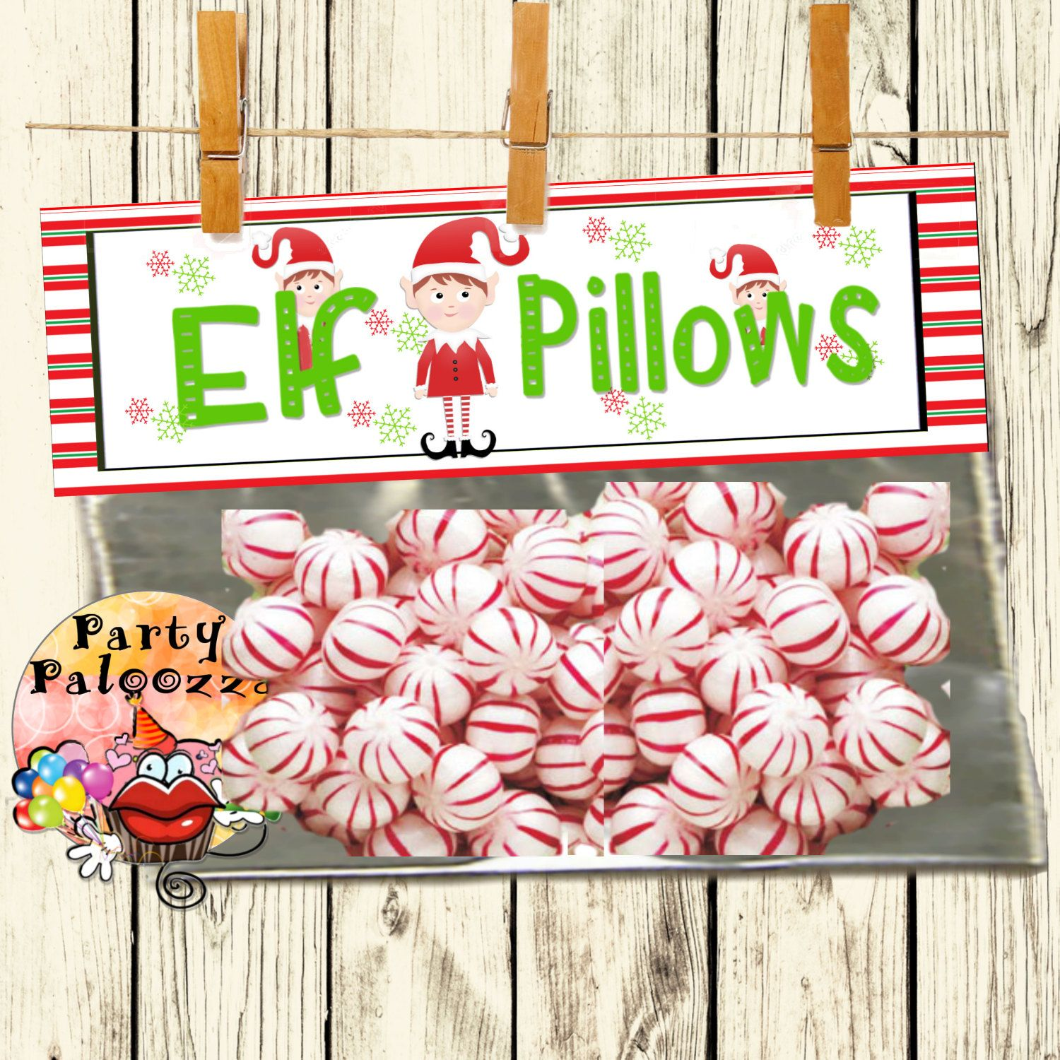 Printable Christmas Bag Topperelf Pillows By Partypaloozza On Etsy