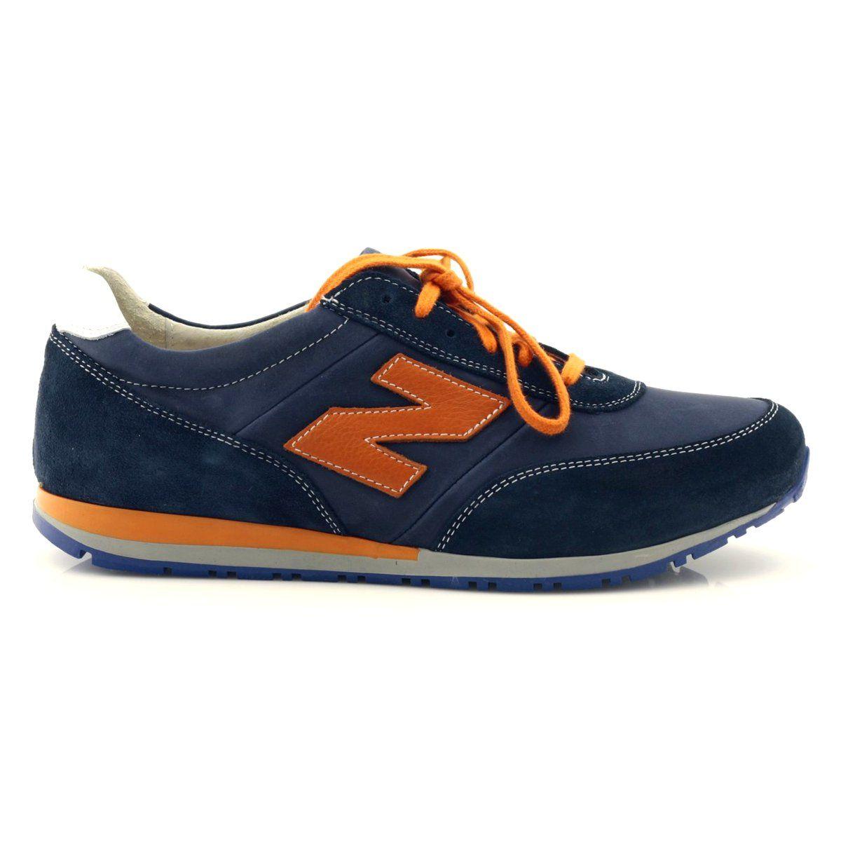 Riko Buty Meskie Sportowe Skorzane 723 Pomaranczowe Granatowe Shoes Mens Casual Shoes Shoes
