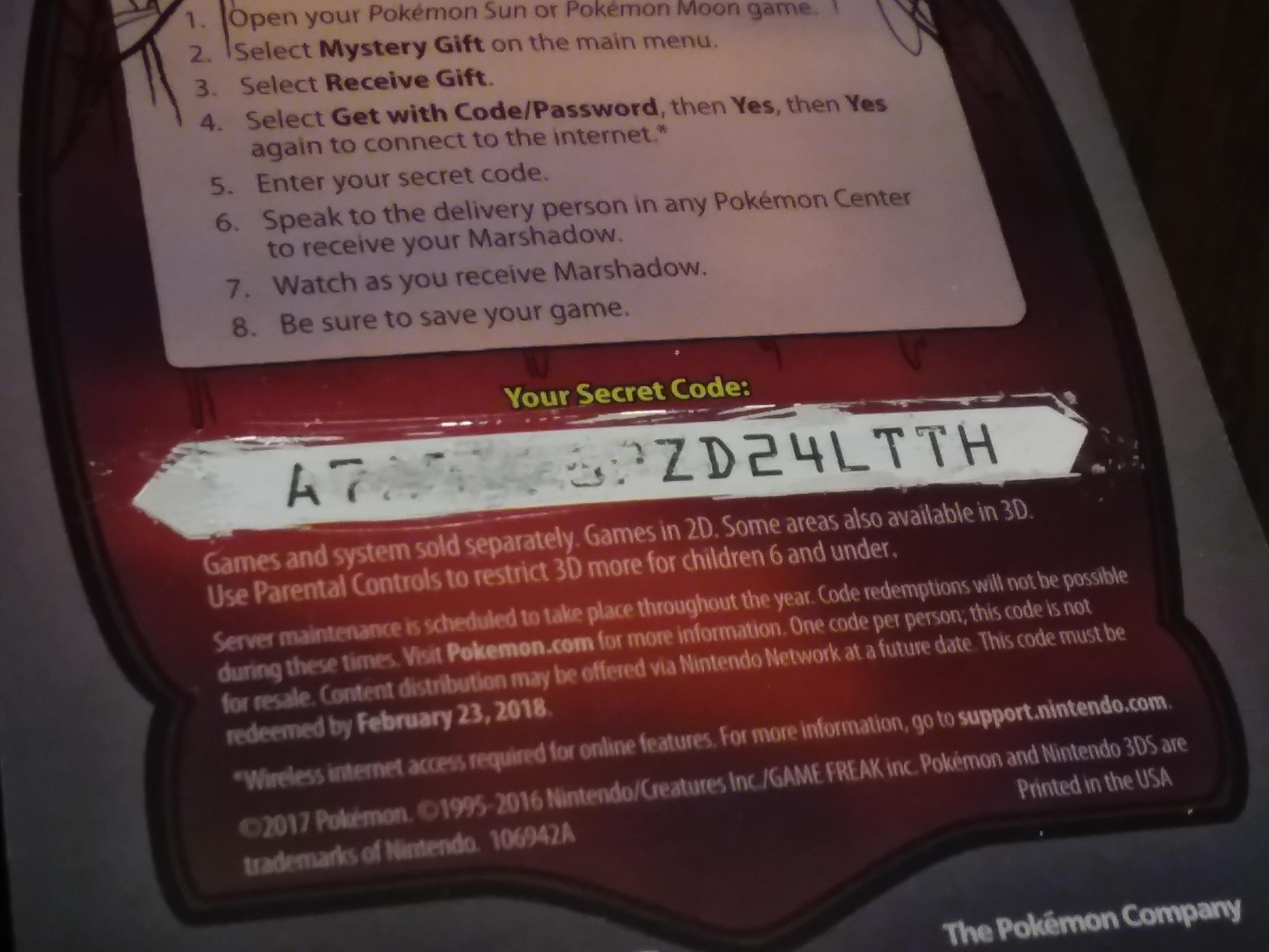 100+ Marshadow Pokemon Mystery Gift Code Moon – yasminroohi