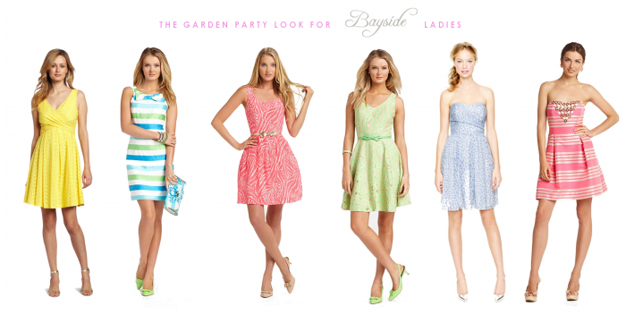 Casual Dress Code Six Different Summer Dresses In Yellow Or Coral Pink Pale Green Or Blue Stri Party Dress Codes Cocktail Party Attire Holiday Party Attire