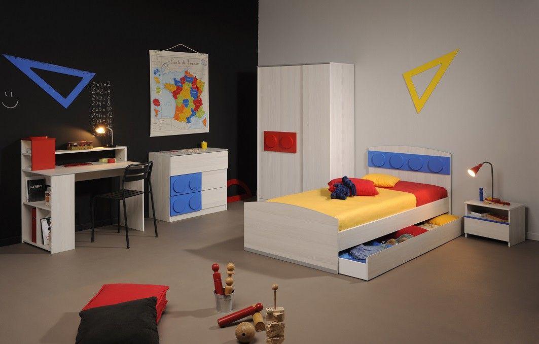 Chambre Complète Enfant 90x200 en Bois Frêne Nordique Yann ...