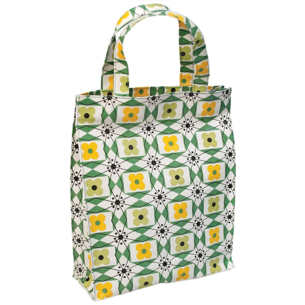 In stock. Mid Century Floral Oilcloth Shopping Bag