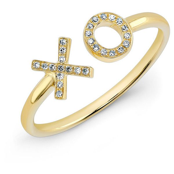 14KT Yellow Gold Diamond XO Ring ($410) ❤ liked on Polyvore