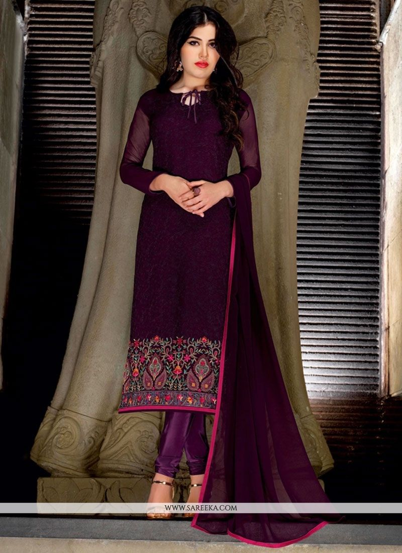 Embroidered work faux georgette churidar suit churidar suits