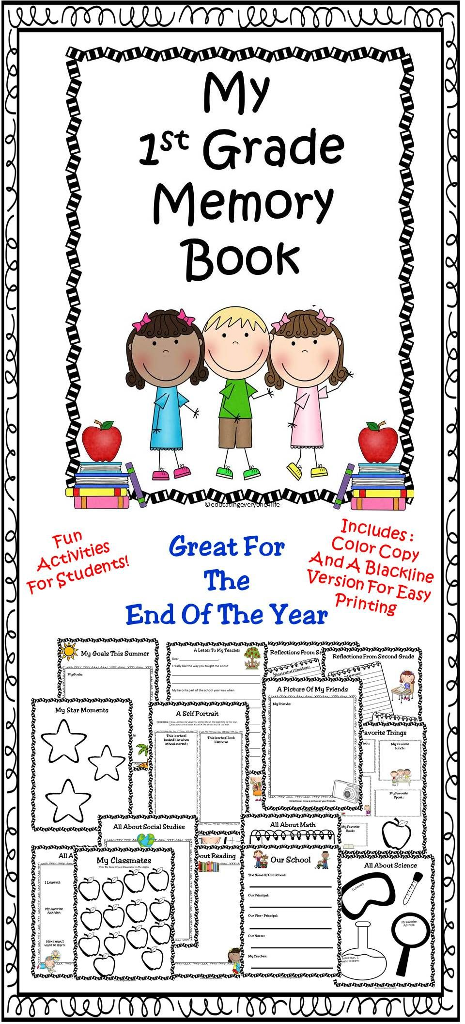 End Of Year 1st Grade Memory Book - Includes many fun activities for  children to complete at the end of the school year. This makes a great  keepsake for ...