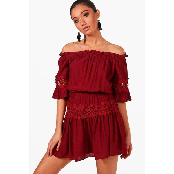 484cb289ddc94 Boohoo Eliza Off The Shoulder Crochet Smock Dress ( 9) ❤ liked on Polyvore  featuring