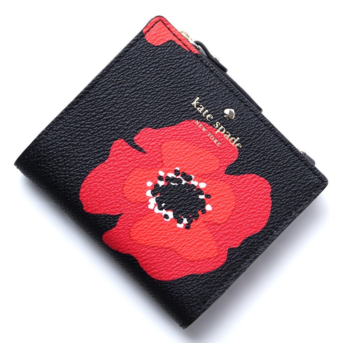 39ee5bcd0002 NWT Kate Spade Hyde Lane Red Poppy Women's Adalyn Small Bifold Black Snap  Wallet #katespade #poppy #luxefashionfinds
