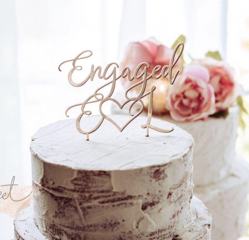 Engagement cake topper custom engaged cake topper were