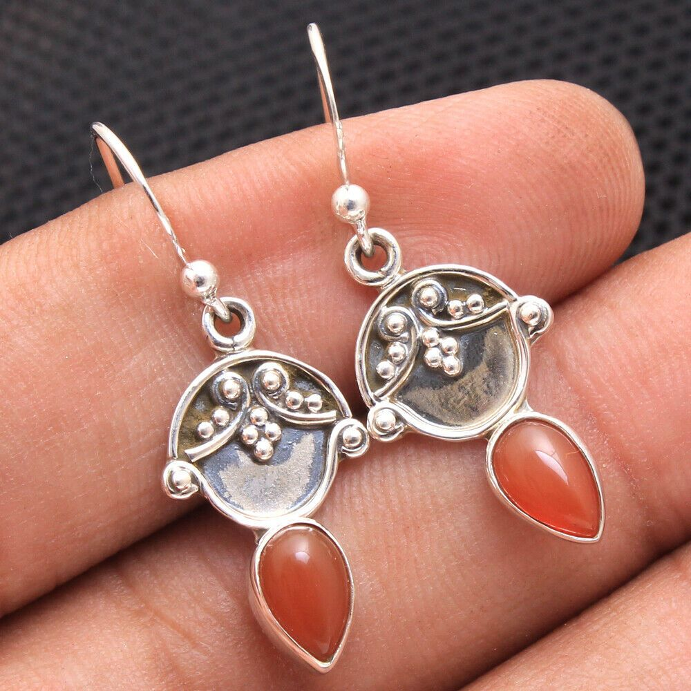 """925 Solid Silver RED FIRE CABOCHON CARNELIAN GORGEOUS CELTIC Earrings 1/"""""""