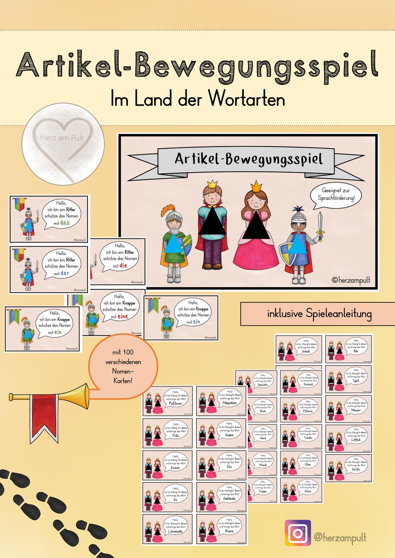 Artikel Bewegungsspiel Im Land Der Wortarten Unterrichtsmaterial In Den Fachern Daz Daf Deutsch In 2020 Wortarten Spiele Grundschule Daf