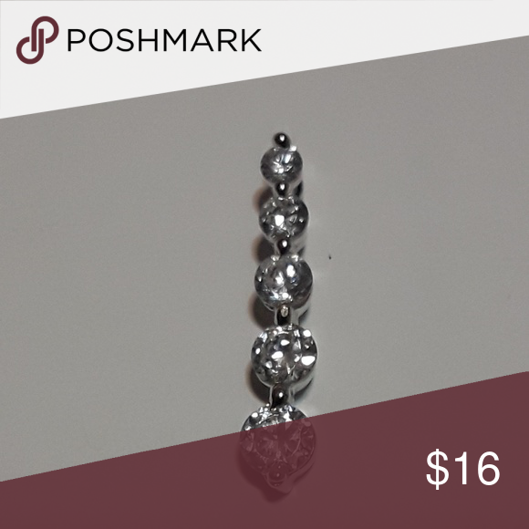 925 Sterling Silver Polished Hidden bail Cubic Zirconia Pendant