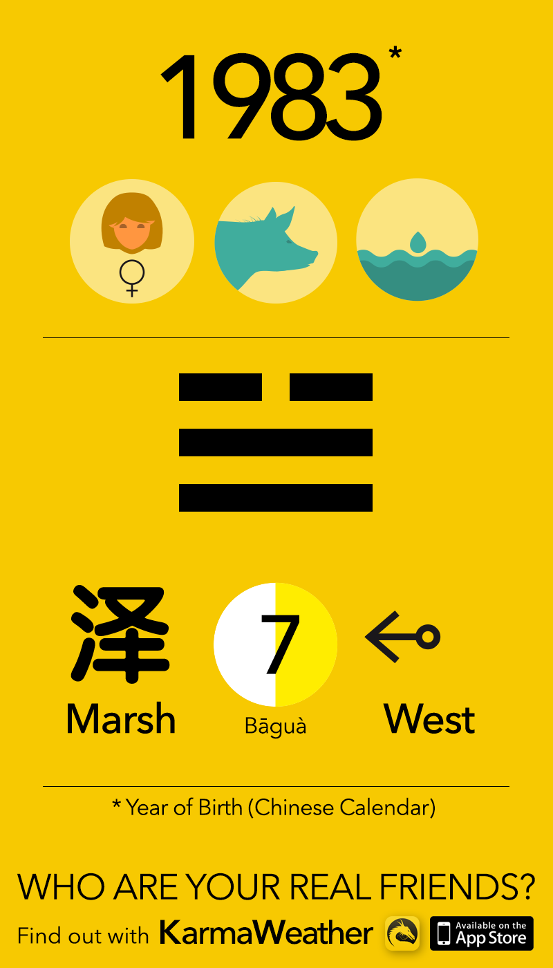 Feng Shui BaGua basics if you're a man born in 1983 (Chinese zodiac  calendar), year of the Water Pig (Boar), by Karma Weather