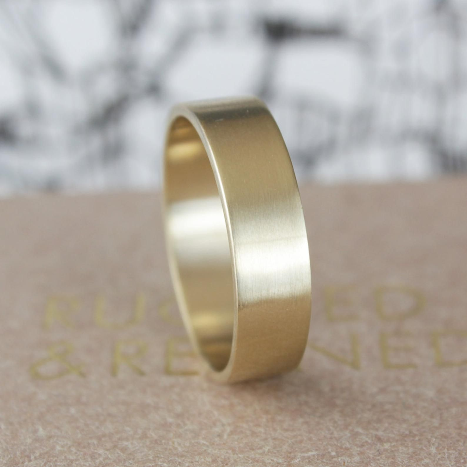 9ct Gold 5mm Wedding Band Matte Finish Etsy In 2020 Mens Gold Wedding Band Yellow Gold Wedding Band Wedding Bands