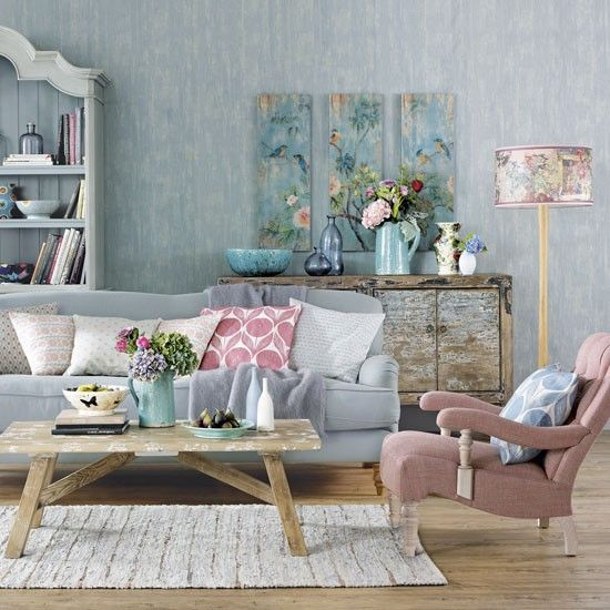 A sun-bleached colourful living room