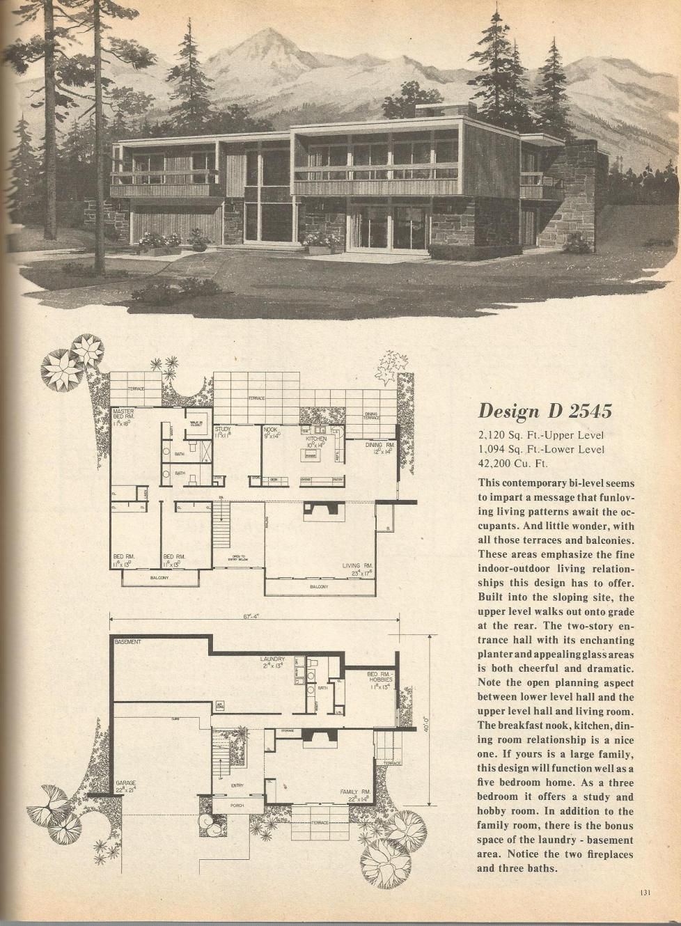 Vintage house plans mid century homes house plans for Mid century floor plans