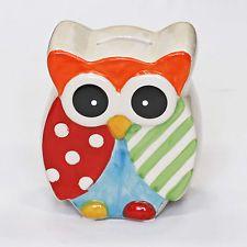 Kids Nursery Painted Owl Money Box in Pastel Orange & Cream – Piggy Bank Gift
