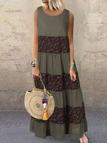 Photo of Fashion O-NEWE Vintage Patchwork Floral Print V-Neck Plus Size Dress with Pocket…