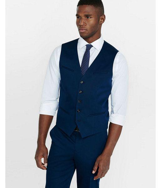 big tall cotton sateen navy blue vest blue men 39 s xxl. Black Bedroom Furniture Sets. Home Design Ideas