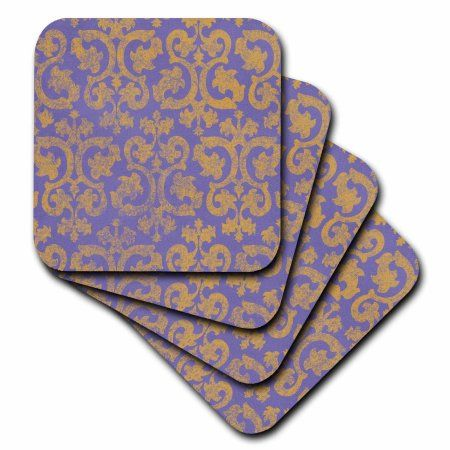 3dRose Grunge gold and purple damask - faded yellow - fancy Vicotorian wallpaper swirling vintage pattern, Soft Coasters, set of 8